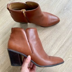 Franco Sarto Orchard Brown Leather Ankle Boots